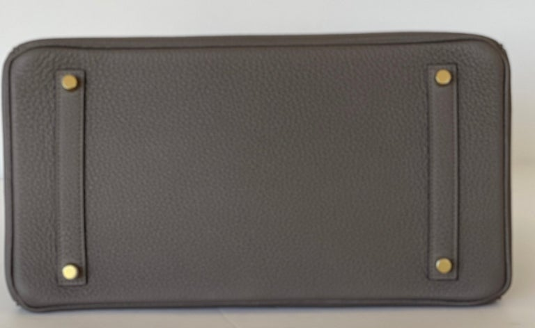 Hermes Etain Togo Tin Grey 35cm Birkin Gold Hardware GHW NEW For Sale 5