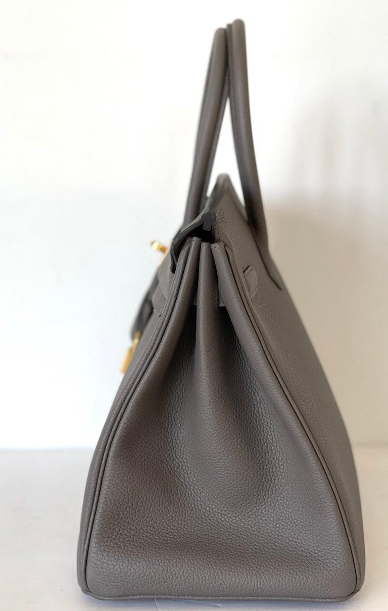 Hermes Etain Togo Tin Grey 35cm Birkin Gold Hardware GHW NEW For Sale 6