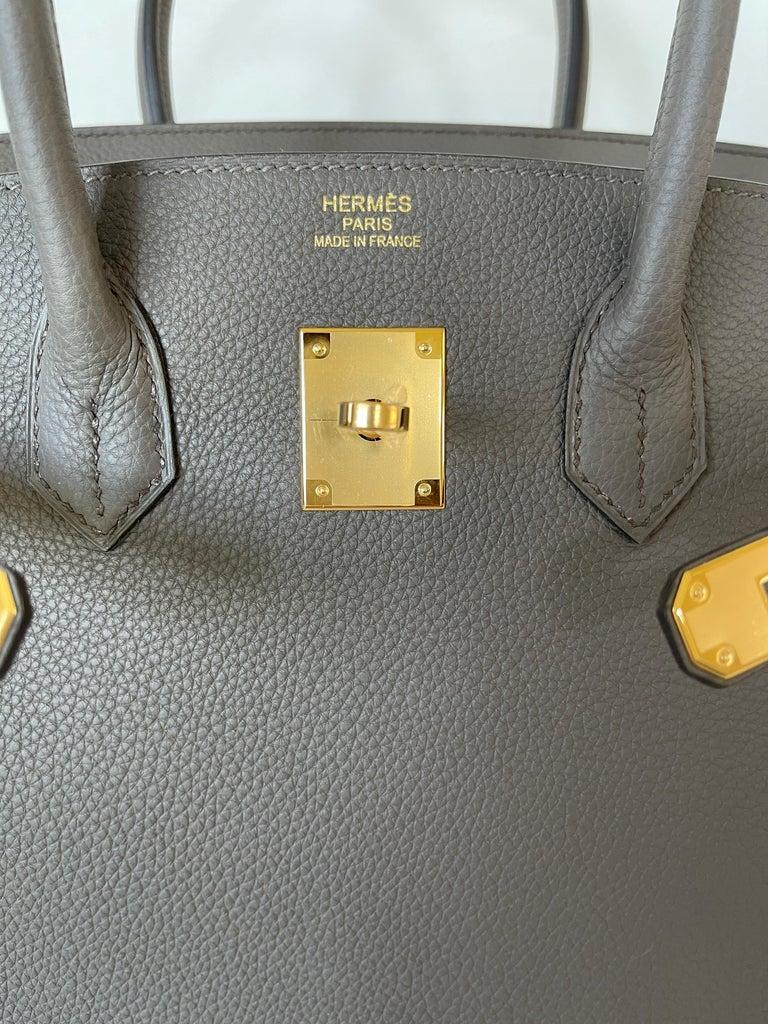 Gray Hermes Etain Togo Tin Grey 35cm Birkin Gold Hardware GHW NEW For Sale