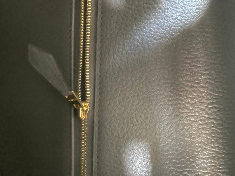 Women's or Men's Hermes Etain Togo Tin Grey 35cm Birkin Gold Hardware GHW NEW For Sale