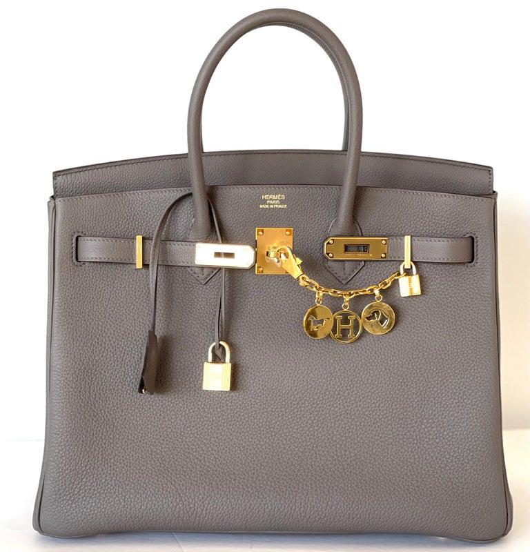 Hermes Etain Togo Tin Grey 35cm Birkin Gold Hardware GHW NEW For Sale 1