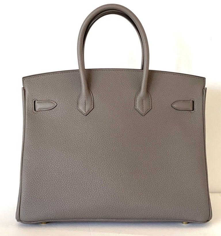 Hermes Etain Togo Tin Grey 35cm Birkin Gold Hardware GHW NEW For Sale 3