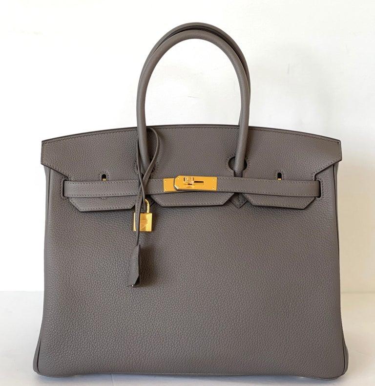 Hermes Etain Togo Tin Grey 35cm Birkin Gold Hardware GHW NEW For Sale 4