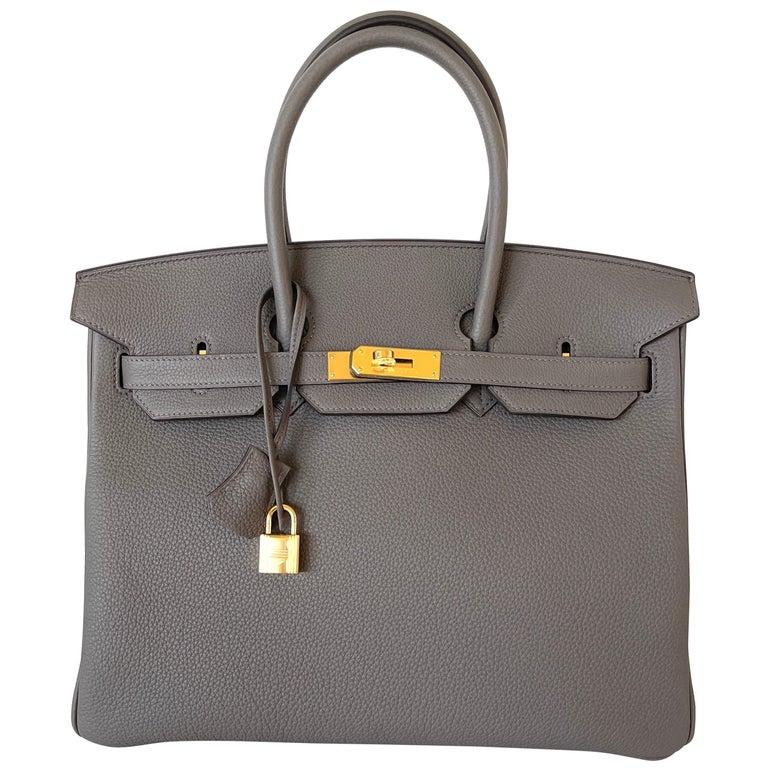 Hermes Etain Togo Tin Grey 35cm Birkin Gold Hardware GHW NEW For Sale