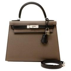 Hermès Etoupe and Black Epsom Horseshoe 28 cm Kelly