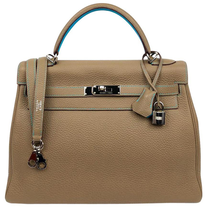 Hermès Etoupe and Blue Aztec Togo Leather 32 cm Kelly Bag