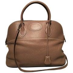 Hermes Etoupe Clemence Leather Bolide 35cm Handbag