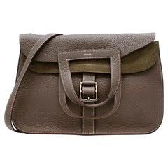 Hermes Etoupe Clemence Leather Halzan 31 Bag PHW