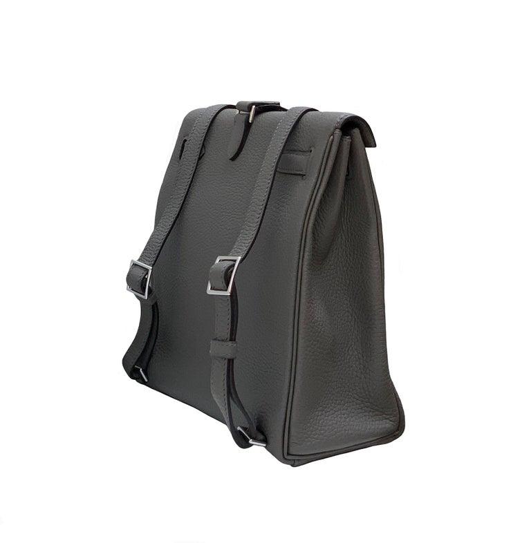 Hermès Etoupe Clémence Leather Kelly Ado II Backpack For Sale 1