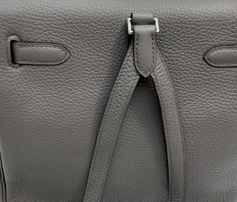 Hermès Etoupe Clémence Leather Kelly Ado II Backpack For Sale 4