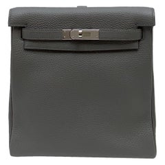 Hermès Etoupe Clémence Leather Kelly Ado II Backpack