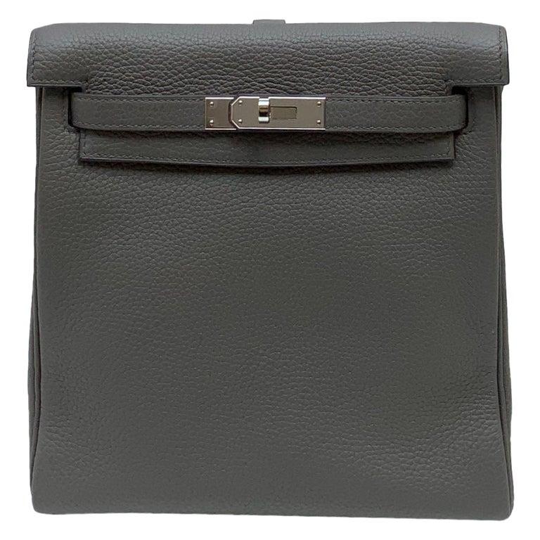 Hermès Etoupe Clémence Leather Kelly Ado II Backpack For Sale