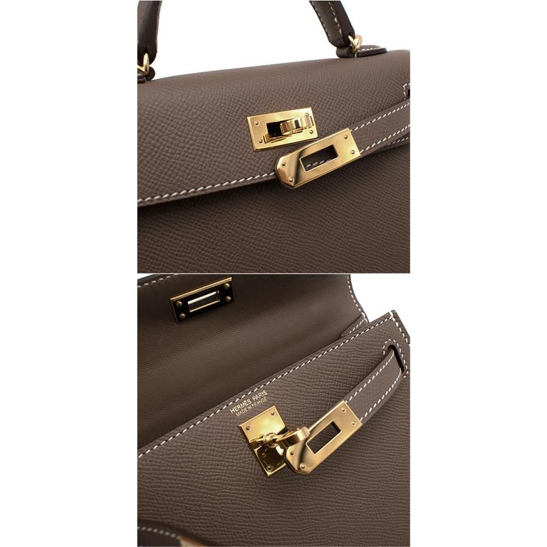 Hermes Etoupe Epsom Leather Mini Kelly Sellier II GHW For Sale 5
