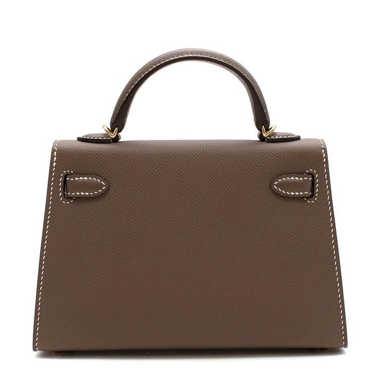 Brown Hermes Etoupe Epsom Leather Mini Kelly Sellier II GHW For Sale