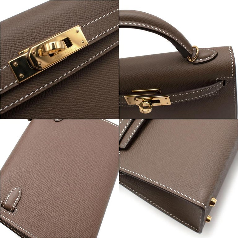 Hermes Etoupe Epsom Leather Mini Kelly Sellier II GHW In Excellent Condition For Sale In London, GB