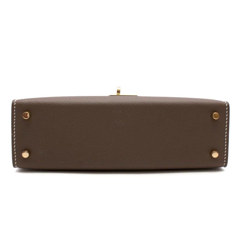 Hermes Etoupe Epsom Leather Mini Kelly Sellier II GHW For Sale 2