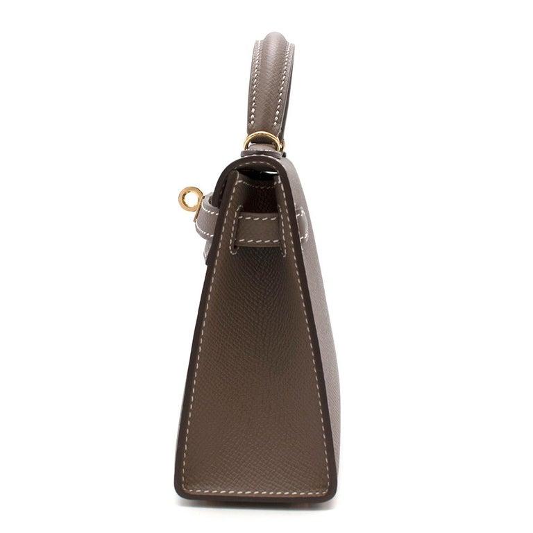 Hermes Etoupe Epsom Leather Mini Kelly Sellier II GHW For Sale 4