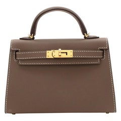 Hermes Etoupe Epsom Leather Mini Kelly Sellier II GHW