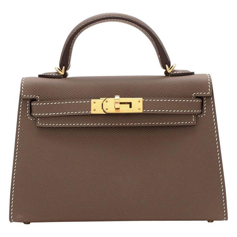Hermes Etoupe Epsom Leather Mini Kelly Sellier II GHW For Sale