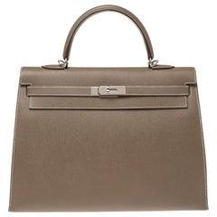 Hermes Etoupe Epsom Leather Palladium Hardware Kelly Sellier 35 Bag