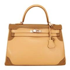 Hermès Etoupe Etain Swift Ghillies 35 cm Kelly Bag