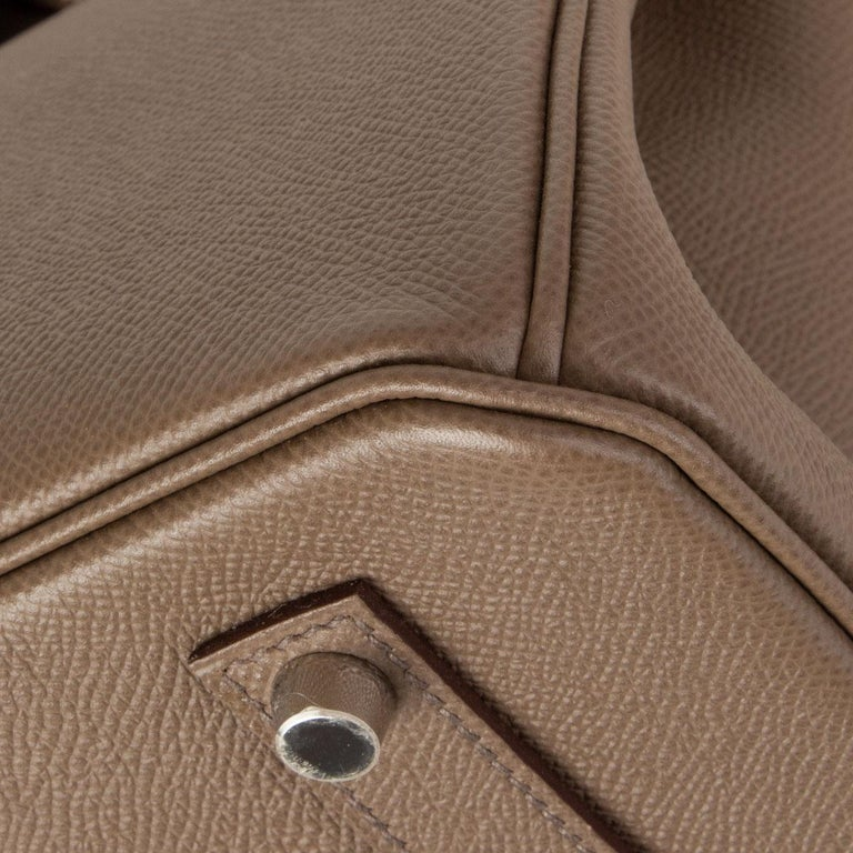 HERMES Etoupe grey Epsom leather BIRKIN 35 Tote Bag Palladium For Sale 5