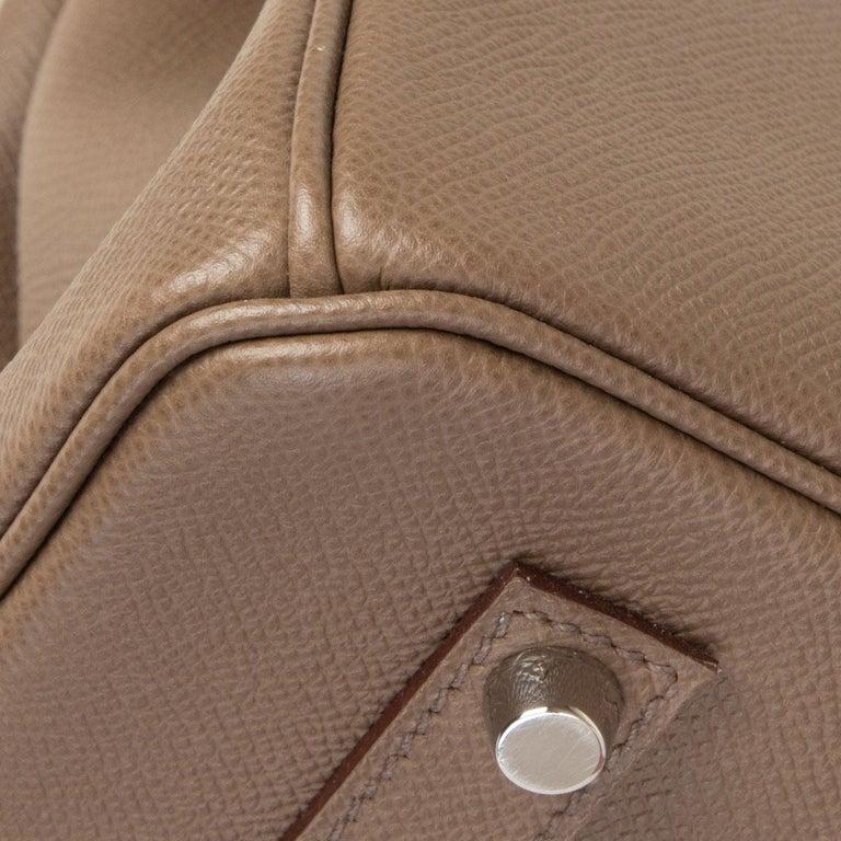 HERMES Etoupe grey Epsom leather BIRKIN 35 Tote Bag Palladium For Sale 6