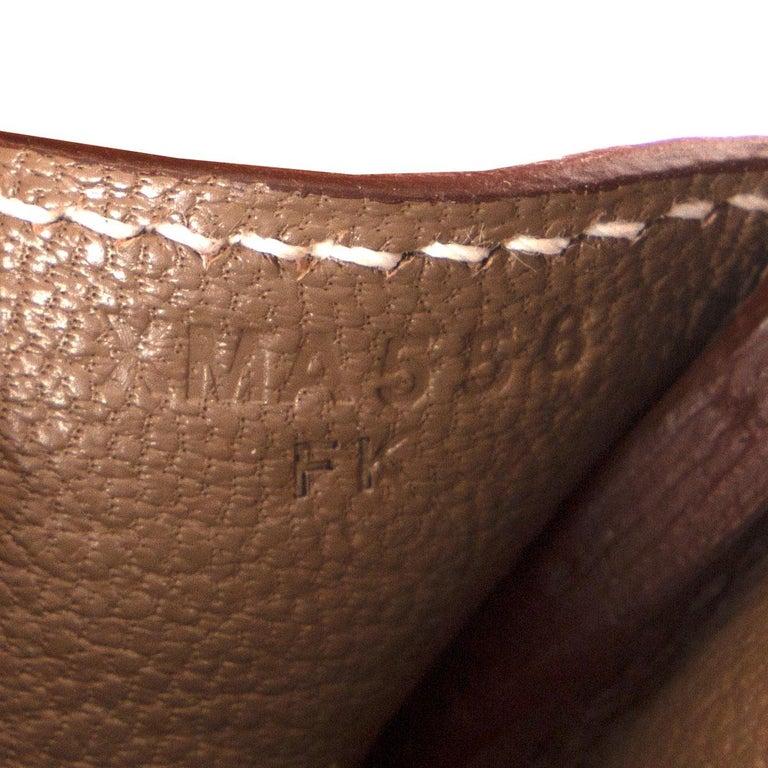 HERMES Etoupe grey Epsom leather BIRKIN 35 Tote Bag Palladium For Sale 7
