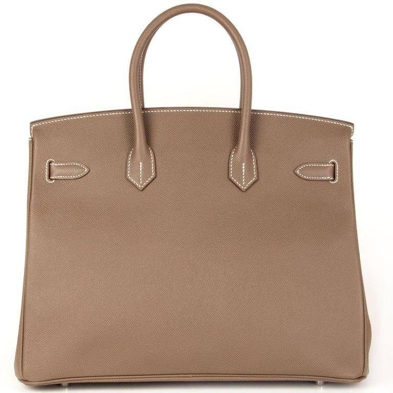 Brown HERMES Etoupe grey Epsom leather BIRKIN 35 Tote Bag Palladium For Sale