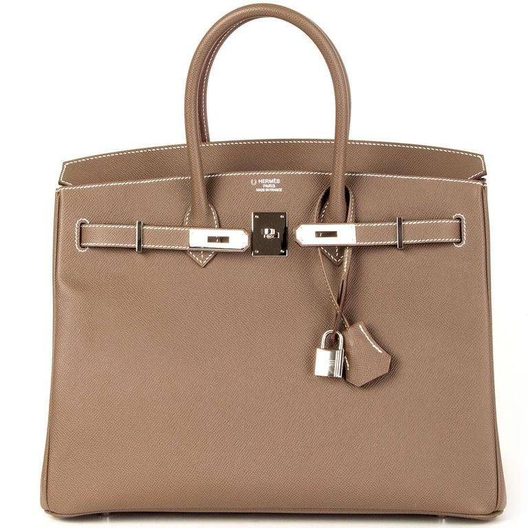 Women's HERMES Etoupe grey Epsom leather BIRKIN 35 Tote Bag Palladium For Sale