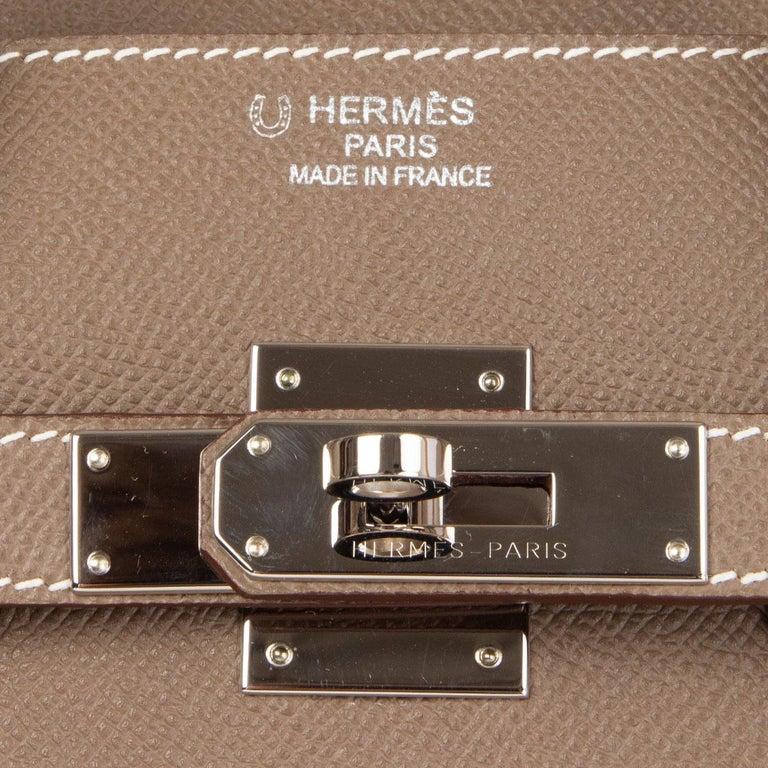 HERMES Etoupe grey Epsom leather BIRKIN 35 Tote Bag Palladium For Sale 1