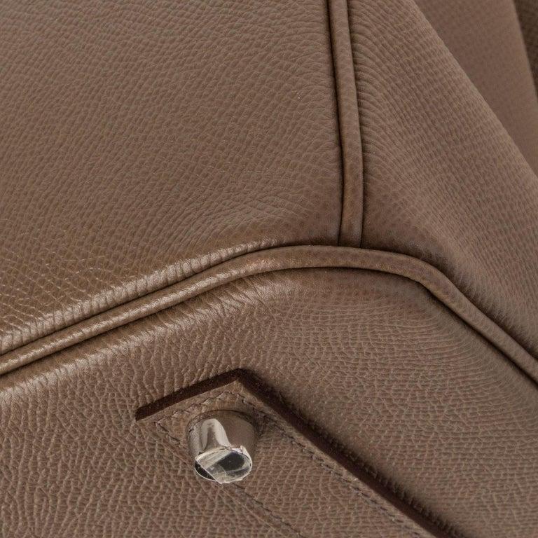 HERMES Etoupe grey Epsom leather BIRKIN 35 Tote Bag Palladium For Sale 3