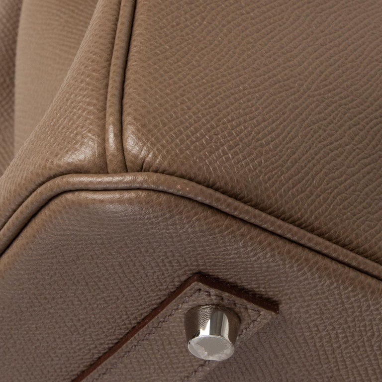 HERMES Etoupe grey Epsom leather BIRKIN 35 Tote Bag Palladium For Sale 4