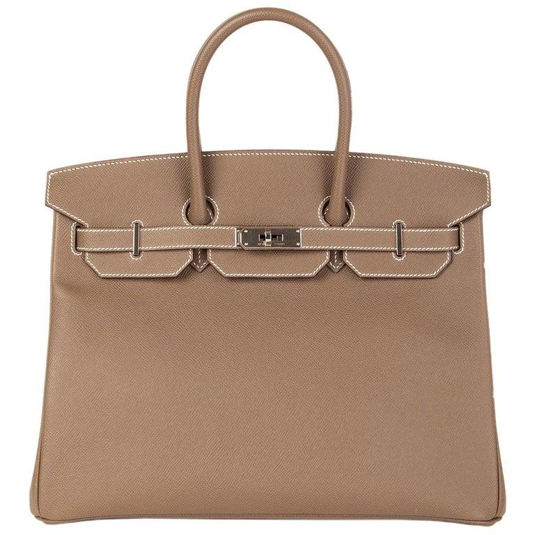 HERMES Etoupe grey Epsom leather BIRKIN 35 Tote Bag Palladium For Sale