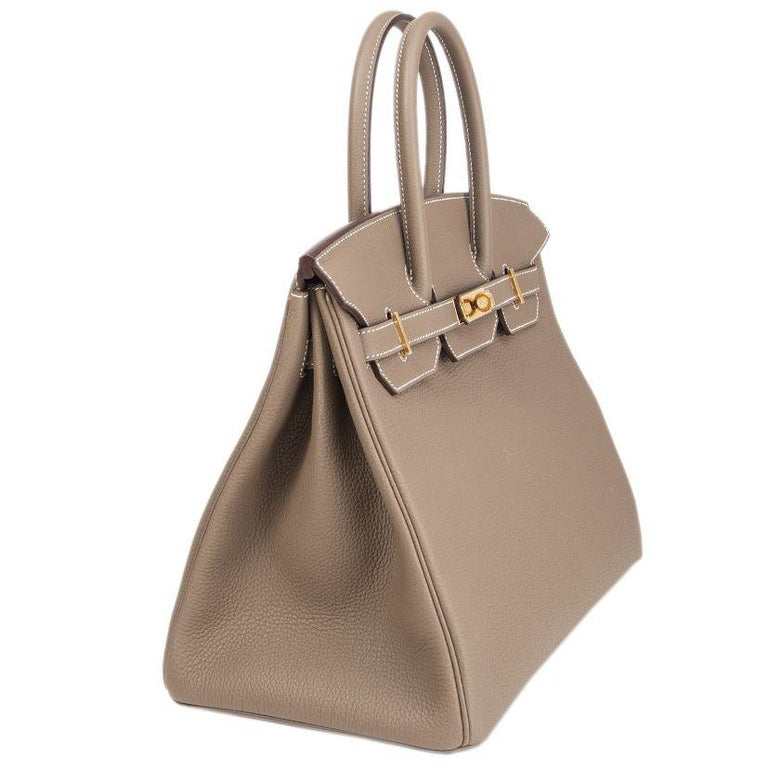 d3db40e47b4 HERMES Etoupe grey Togo leather and Gold BIRKIN 35 Bag For Sale at ...