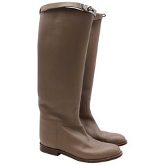 Hermes Etoupe Kelly Riding Boots 38