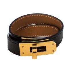 Hermés Étoupe Leather Mini Kelly Double Tour Bracelet XS