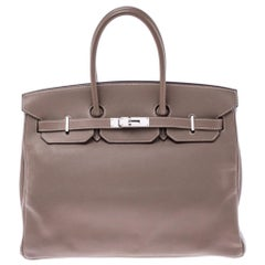 Hermes Etoupe Swift Leather Palladium Hardware Birkin 35 Bag