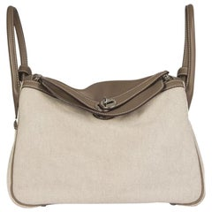 HERMES Etoupe Swift leather & Toile Canvas LINDY 30 Shoulder Bag