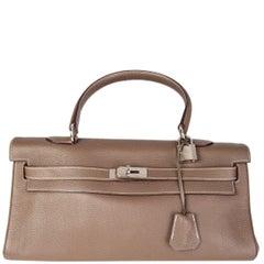 HERMES Etoupe taupe Clemence leather & Palladium JPG KELLY 42 Shoulder Bag