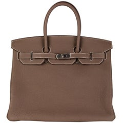 HERMES Etoupe taupe grey Togo leather & Palladium BIRKIN 35 Tote Bag