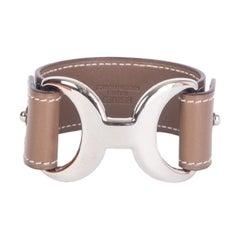 HERMES Etoupe taupe leather BABYLONE Bracelet Cuff