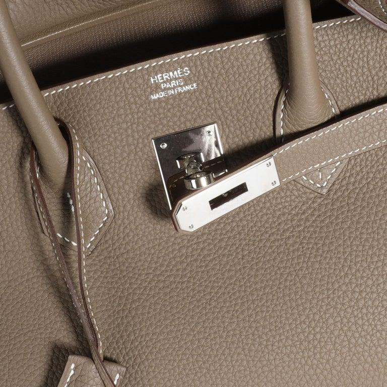 Listing Title: Hermès Etoupe Togo Birkin 35 PHW SKU: 109684  Condition: Pre-owned (3000) Handbag Condition: Very Good Condition Comments: Very Good Condition. Faint scuffs to corners.  Brand: Hermès Model: Birkin  Origin Country: France Handbag