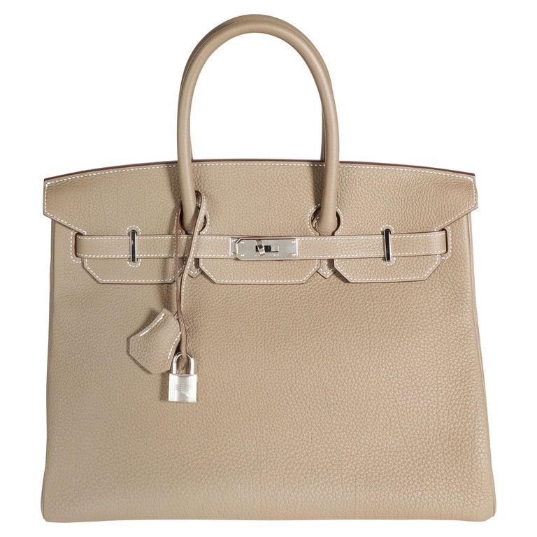 Hermès Etoupe Togo Birkin 35 PHW For Sale