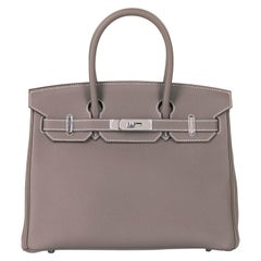 Hermes Etoupe Togo Leather Birkin 30 Bag - Palladium Hardware - 2016 Never Worn