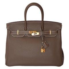 Hermes Etoupe Togo Leather Gold Hardware Birkin 35 Bag