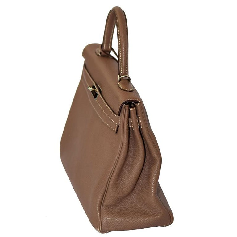 Brown Hermes Etoupe Togo Leather Palladium Hardware Kelly Retourne 35 Bag For Sale