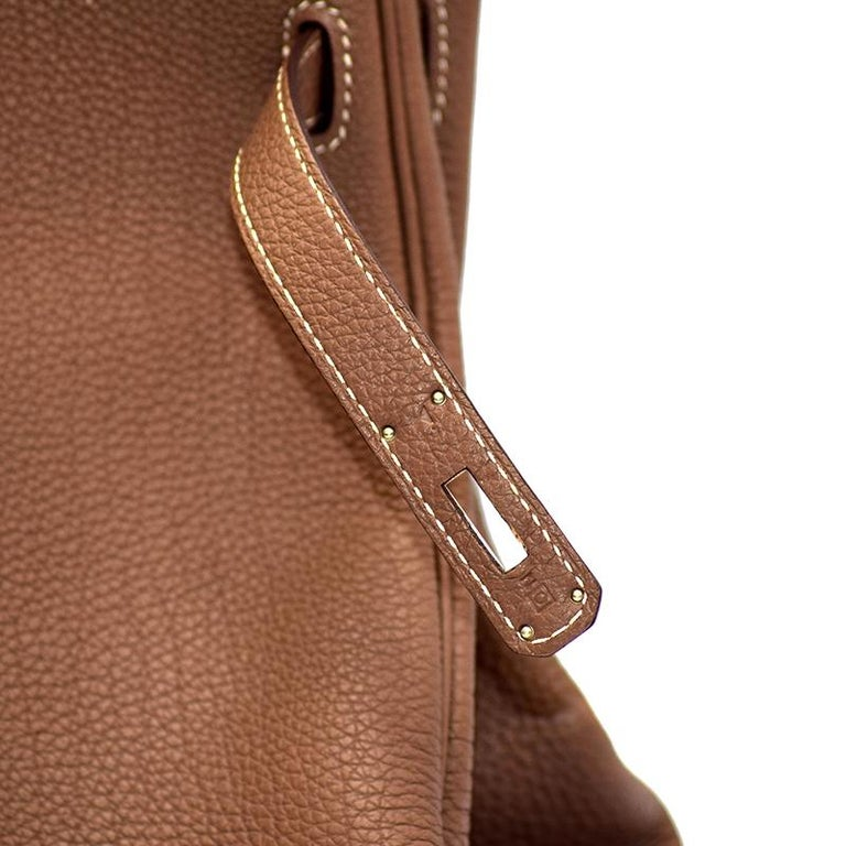 Women's Hermes Etoupe Togo Leather Palladium Hardware Kelly Retourne 35 Bag For Sale