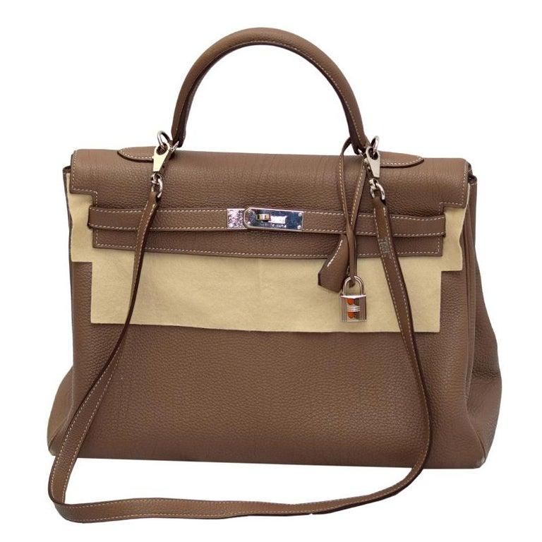 Hermes Etoupe Togo Leather Palladium Hardware Kelly Retourne 35 Bag For Sale 1