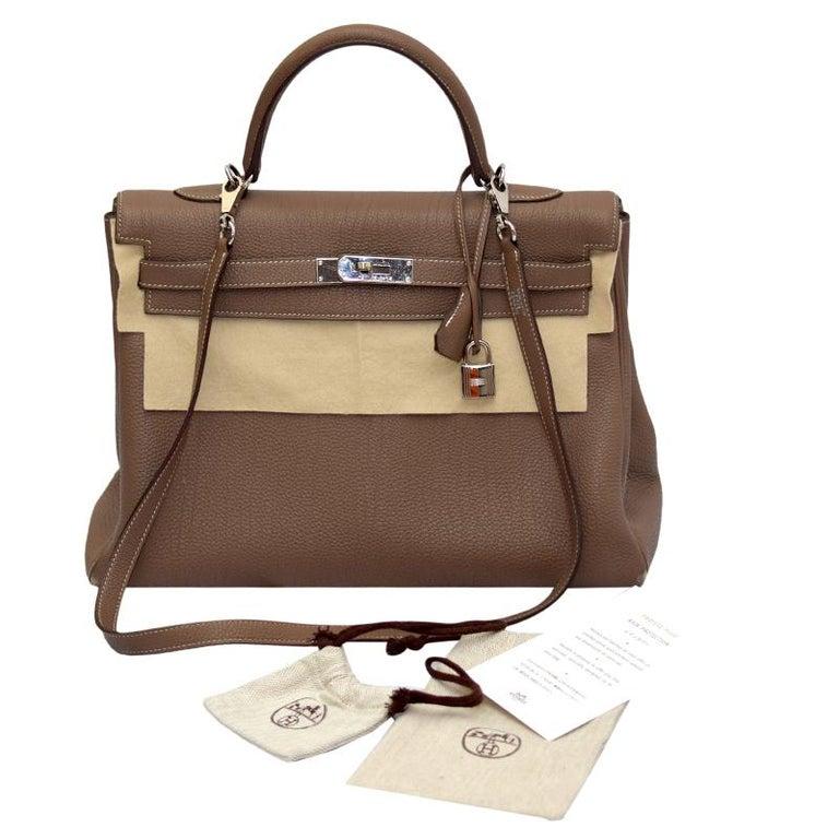 Hermes Etoupe Togo Leather Palladium Hardware Kelly Retourne 35 Bag For Sale 2